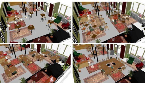 Impressies van mogelijke indelingen van het Theatercafe